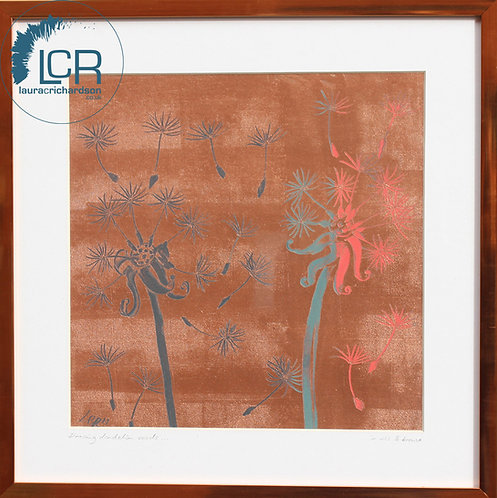 DANCING DANDELIONS in Forest Green & Coral, with Copper frame