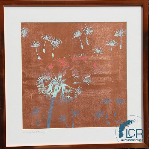 DANCING DANDELIONS in Navy, Pale Blue & Coral, with Copper frame