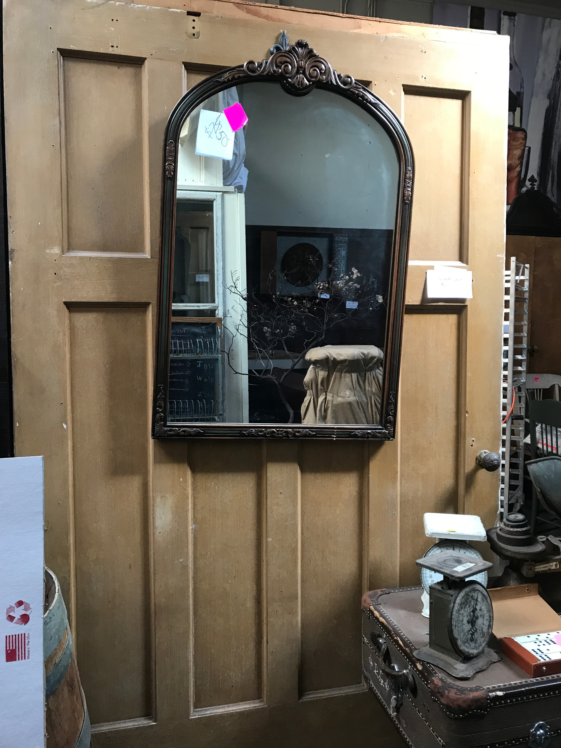 Set of 6 beveled glass oak french doors