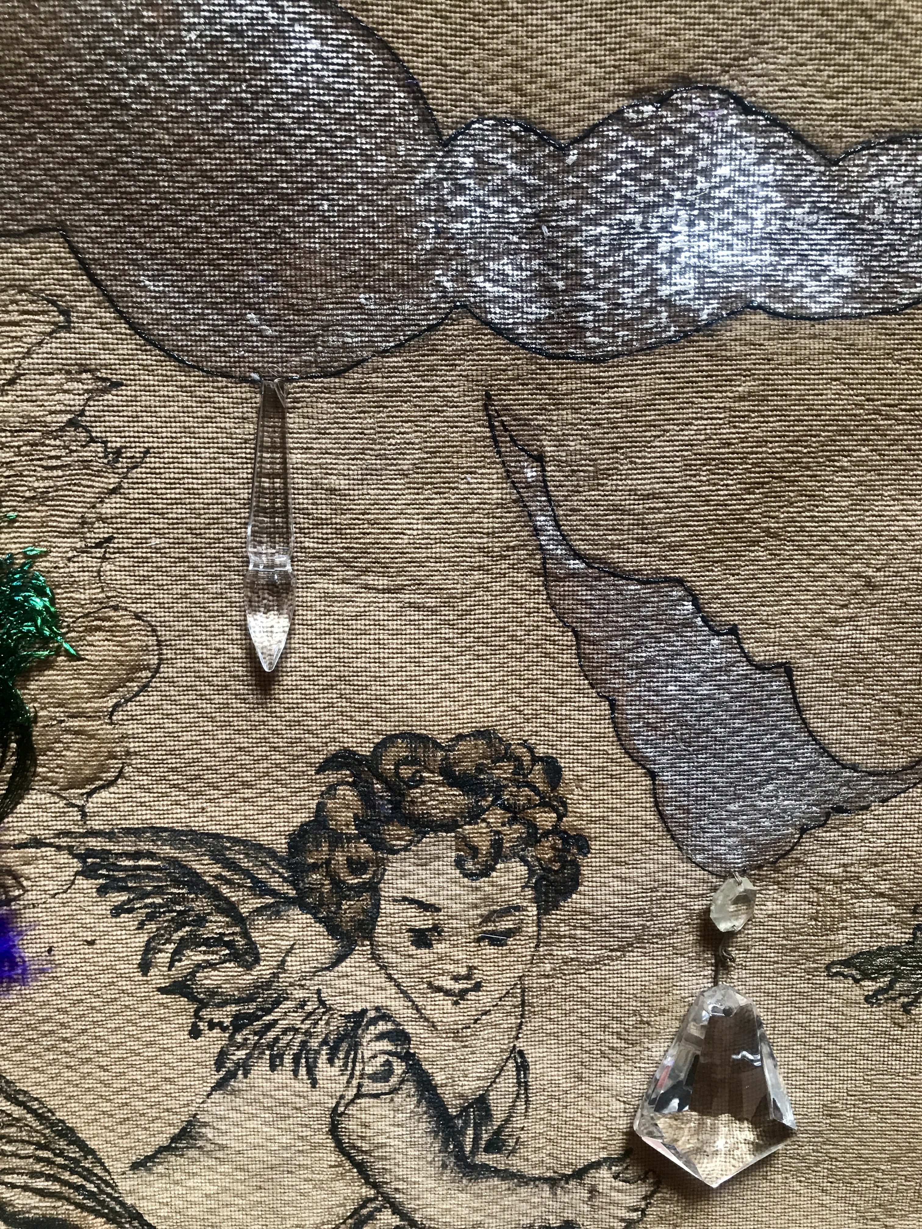 tapestry, crystals, foil