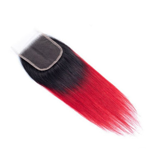 Red Ombre Lace Closure (100% Remy Human Hair)