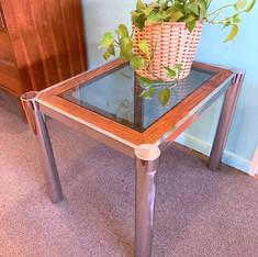 Chrome /Glass/Wood Side Table