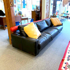 Modern Leather Long Sofa w/ Adjustable Back-Rest