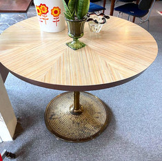 Epic Brass and Patchwork Wood Table
