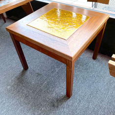 MCM Walnut and Gold Square Side Table