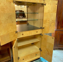 Tall Burled Olive Bar Cabinet