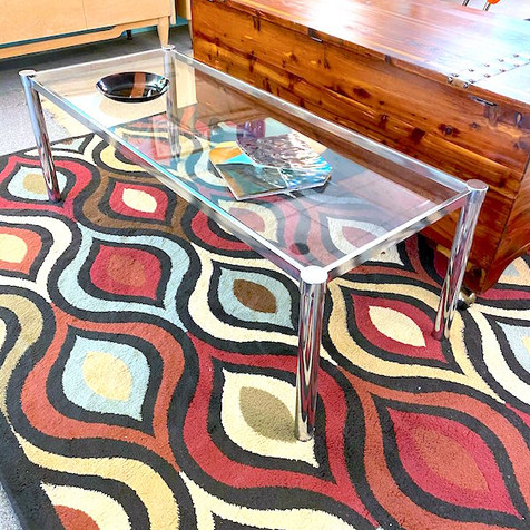 Smaller Chrome and Glass Coffee Table