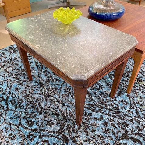Fossil Top Antique Side Table