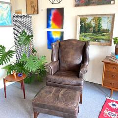 Ethan Allen Leather Arm Chair w/ Ottoman