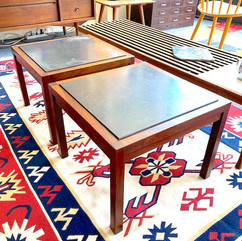 (2) MCM Slate Top Square Side Table