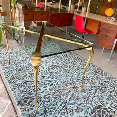 Elegant Glass and Brass Entertaining Table