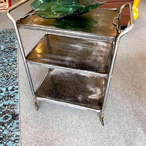 Rustic Metal Cart on Wheels