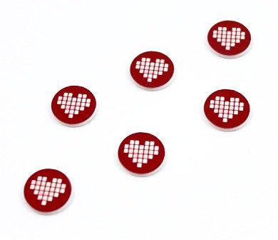 Laser Cut Supplies-8 Piece. Pixel Heart Charms-Acrylic Laser Cut Shape