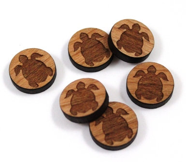 Laser Cut Supplies-8 Pieces. Turtle Charms-Acrylic.Wood Laser Cut Shapes