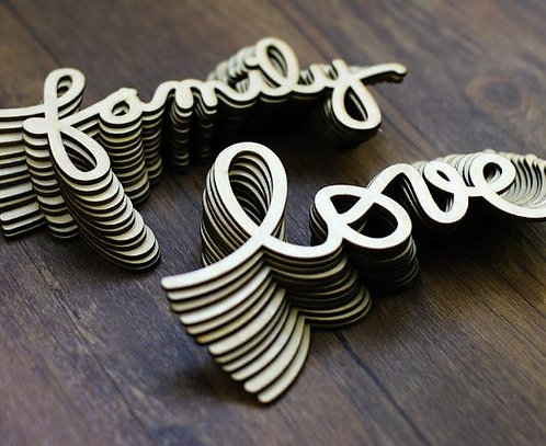 Creative Wooden Words. 1 Piece Family / Love