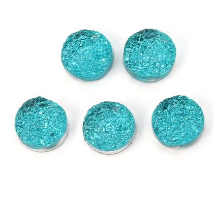 10 Pieces. Calm Turquoise Sparkle. 12mm Round Glitter Resin Mini Charms