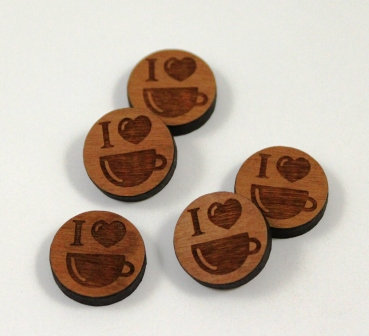 Laser Cut Supplies-8 Pieces.Love Coffee Charms-Acrylic.Wood Laser Cut Shapes
