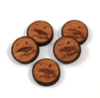 Laser Cut Supplies-8 Pieces. Raven Charms-Acrylic.Wood Laser Cut Shapes