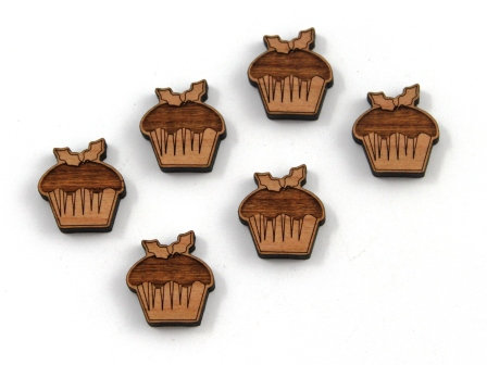 8 Pieces. Christmas Pudding Charms-Wood Laser Cut Shapes