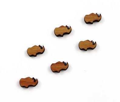 8 Pieces. Rhinoceros Plain Charms-Wood Laser Cut Shapes