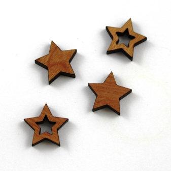 8 Pieces. Star Bezel Mini Charms-Wood Laser Cut Shape