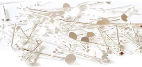 10 pieces- Silver Plated- Bobby pins- 8mm Glue Pad - Round Pad