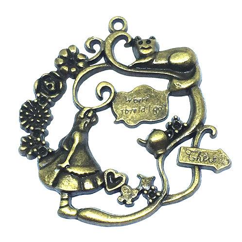 1 Piece. Alice in Wonderland Pendant. Antiqued Bronze