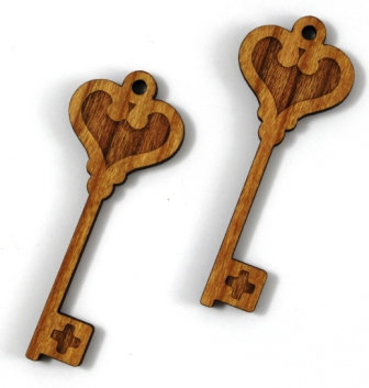 Laser Cut Supplies-1 Piece. Key Charms-Acrylic. Wood Laser Cut Shape