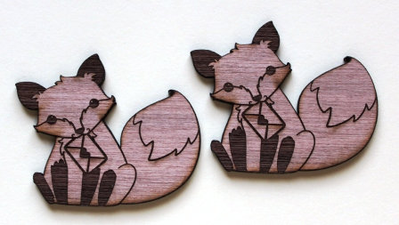 Laser Cut Supplies-1 Piece. Fox Love Charms-Acrylic. Wood Laser Cut Shape