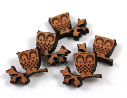 Laser Cut Supplies-8 Pieces.Owl on Branch Charms-Acrylic.Wood Laser Cut Shapes