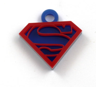 1 Piece. Superman Stacker Charms-Acrylic  Laser cut Shape