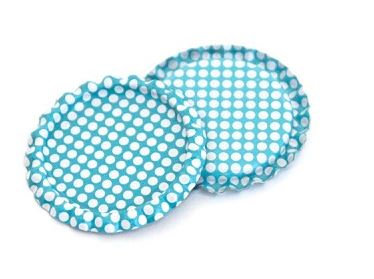 10 Pieces.Two Sided Aqua Blue - White Polka Dots Bottle Caps Flattened