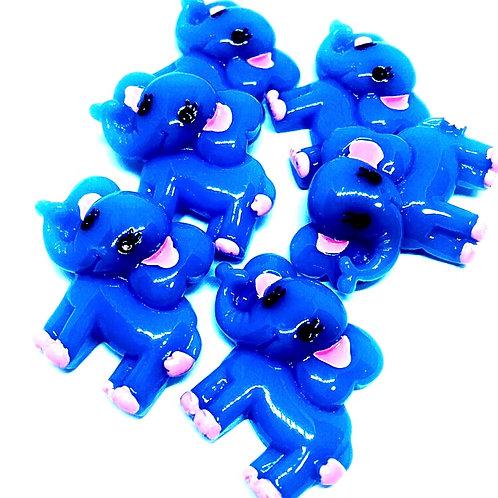 1 Piece. Blue Elephant Resin Cabochon Flatbacks