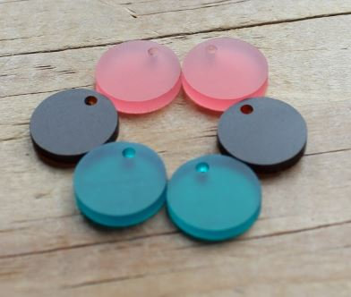 2 Pieces.Frosted Acrylic 16mm Circles-Holes. Included Laser Cut Jewelry Supplies