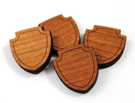 Laser Cut Supplies-8 Pieces. Shield Charms-Acrylic.Wood Laser Cut Shapes