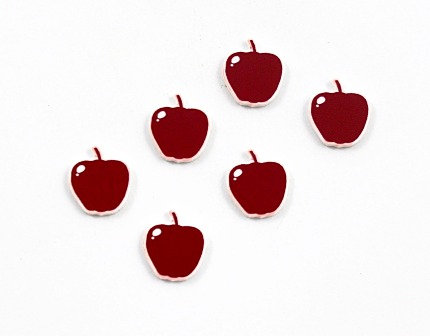 Laser Cut Supplies-8 Piece. Apple Charms-Acrylic and Wood Lasercut Shapes