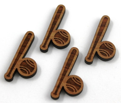 8 Pieces. Baseball Charms-Wood Laser Cut Shapes