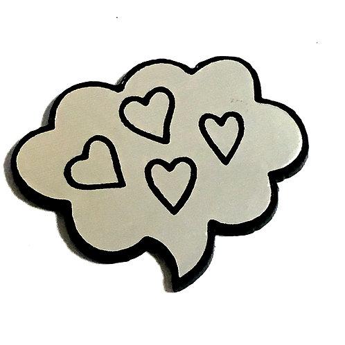 8 Piece. Heart Thought Bubble Mini Cabochons-Acrylic Laser Cut Shapes
