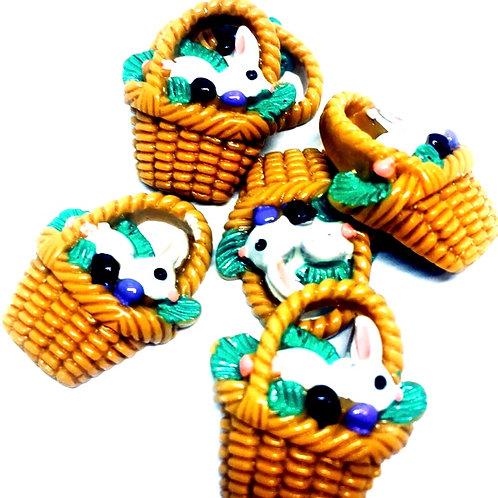 1 Piece. Easter Bunny Basket Resin Cabochon Flatbacks
