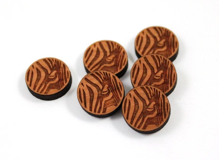 Laser Cut Supplies-8 Pieces. Zebra Charms-Acrylic.Wood Laser Cut Shapes