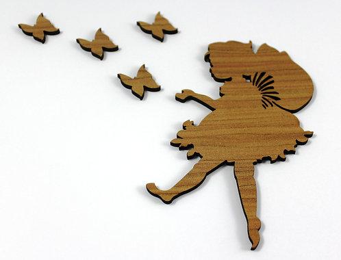 Laser Cut Supplies-5 Pieces.Pixie & Butterfly Charms .Wood Laser Cut Shape