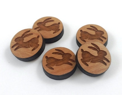 Laser Cut Supplies-8 Pieces. Lucky Rabbit Charms-Acrylic.Wood Laser Cut Shapes