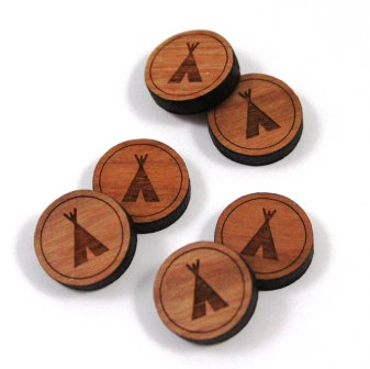 Laser Cut Supplies-8 Pieces.Tee Pee Charms-Acrylic.Wood Laser Cut Shapes