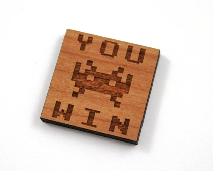 1 Piece. Retro You Win Arcade Charms- Wood Laser Cut Shapes