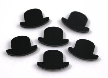 8 Pieces. Top Hat Mini Charms-Acrylic Laser Cut Shape