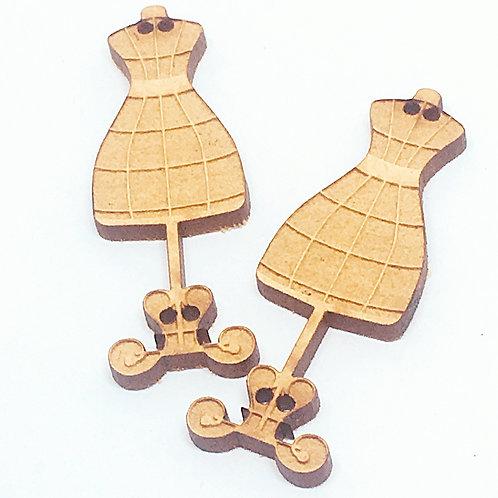 Lasercut Craft Wood Dress Maker –1 Piece. 20mm Wide. Scrapbook. Wood Craft