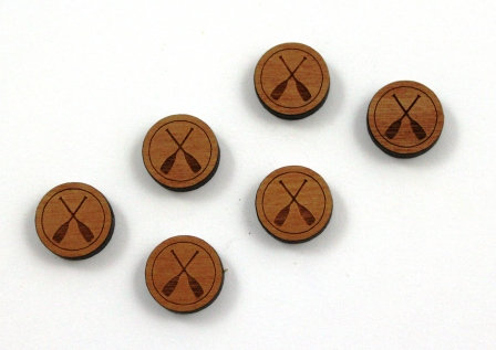 8 Pieces. Canoe Paddle Charms-Wood Laser Cut Shape