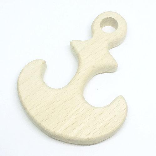 Beech Wooden Anchor Charm Pendant. 60mm wide. Wooden Shape