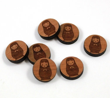 Laser Cut Supplies-8 Pieces.Russian Doll Charms-Acrylic.Wood Laser Cut Shapes
