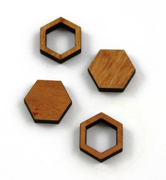 8 Pieces. Hexagon Bezel Mini Charms-Wood Laser Cut Shape